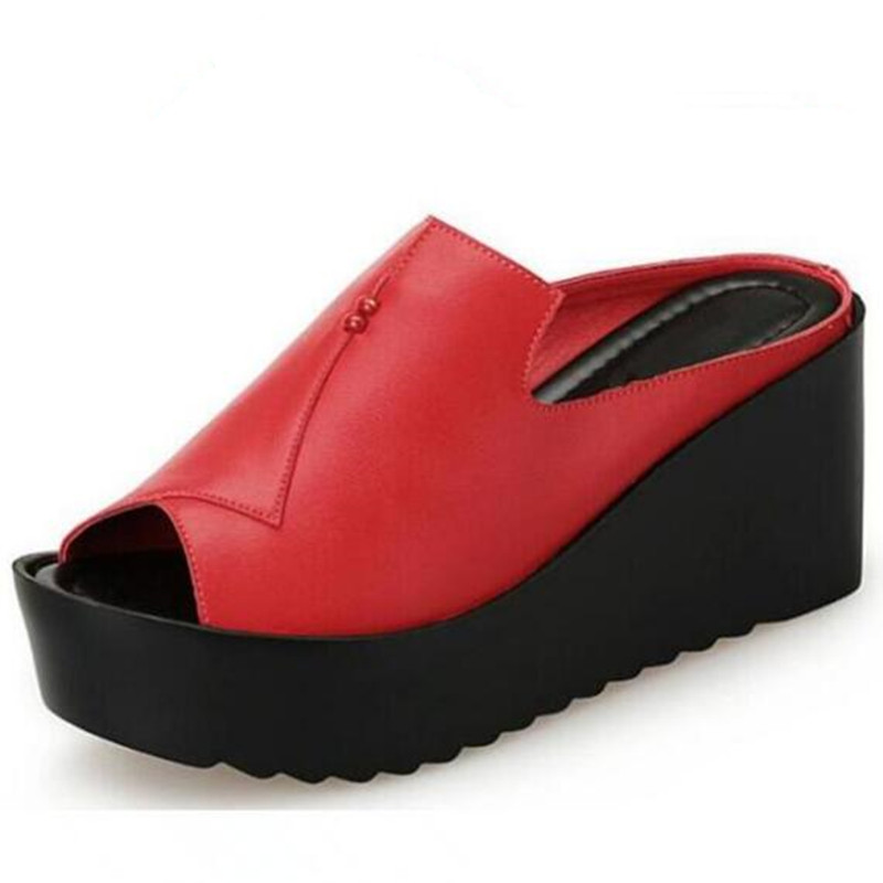 Elegant Comfort Women Summer Sandals 2019 Newest Summer Genuine Leather Sandals Slippers Women Shoes Platform Wedges