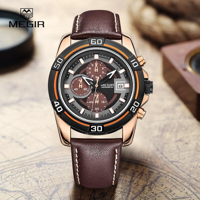 MEGIR nové značky móda pánské sportovní hodinky mužské křemenné hodiny datum hodiny kožený pásek vojenská armáda vodotěsné náramkové hodinky 2023G