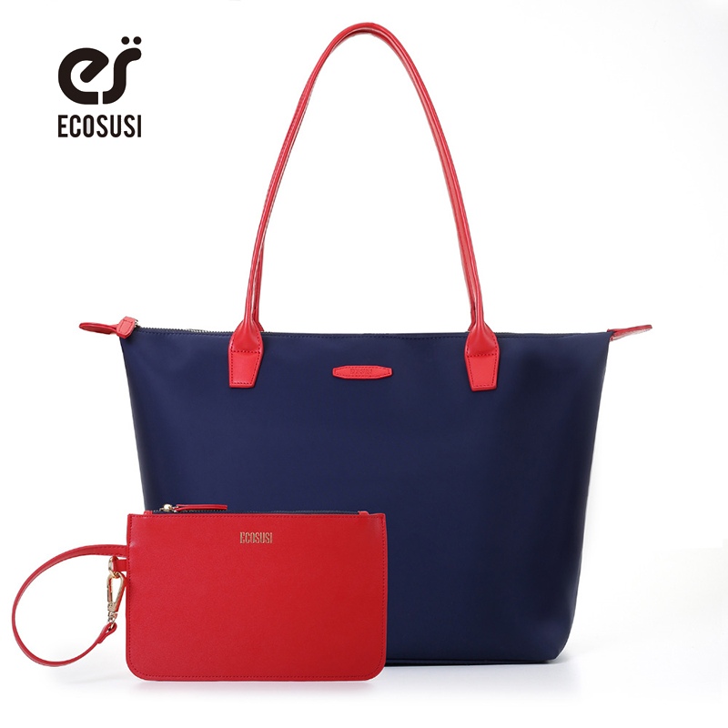 ECOSUSI 2pcs New Designer Women Bag With Purse Mummy Bags Anti-wrinkle Nylon Tote Bag Fashion Handbag Shopping Tote Bolsa кружка с цветной ручкой и ободком printio jjov8111