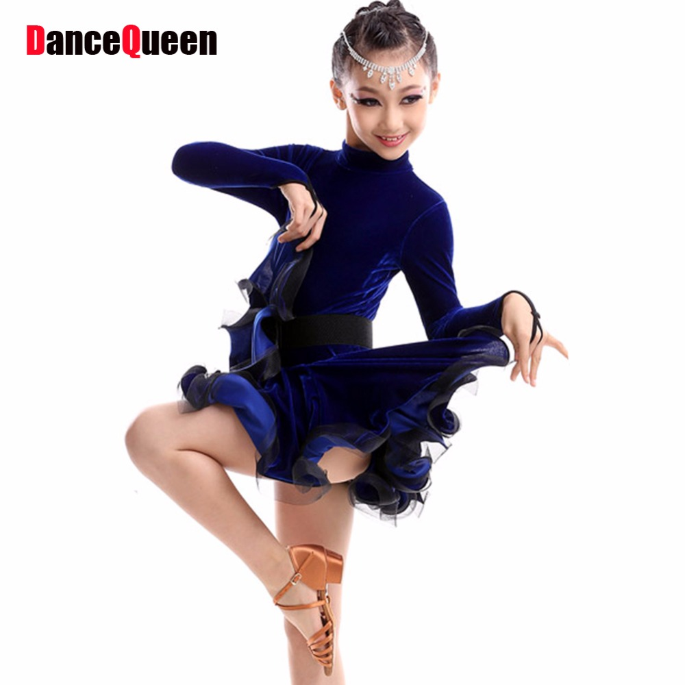Girls Dance Latin Dresses Kids Dance Costumes Ballroom Dance Competition Dresses Children Cha Cha/Samba/Rumba/Tanto Dance Wear