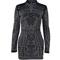 2017 Sexy Geometric Retro Rhinestone High Necked Long Sleeved Bodycon dress Tight Package Hips Zipper Diamonds Mini Party Dress