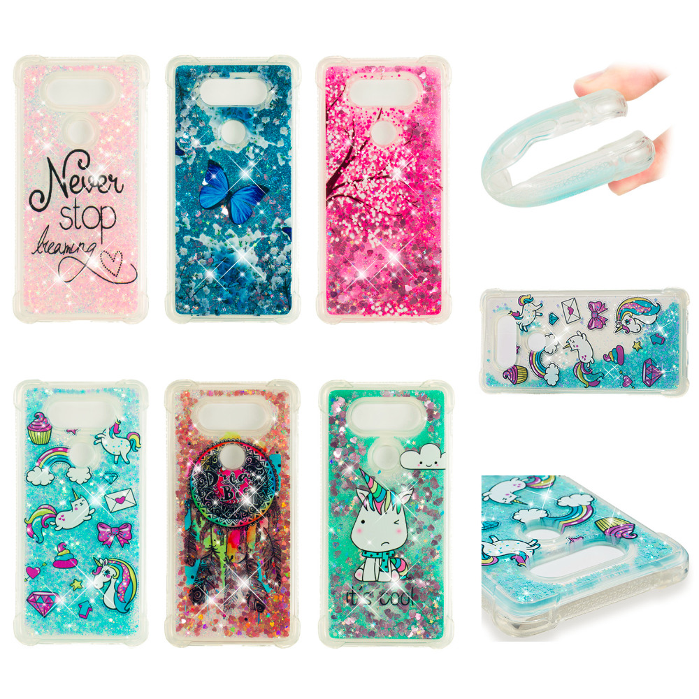 LUCKBUY For LG V20 V30 Case Luxury Dynamic Glitter Liquid Soft Phone for TPU Silicon Transparent Back Cover