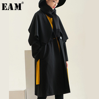 [EAM]2018 Autumn Winter Woman Black Long Sleeve Patchwork Single Button Cloak Type Long Loose Bandage Trench Caot LD0190