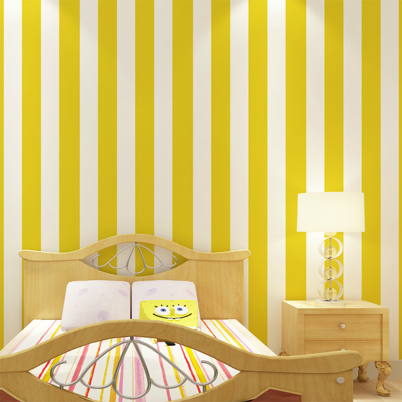 Free Shipping Red White Vertical Striped Wallpaper Yellow Green Child Real Male Bedroom 5 3m2 In Wallpapers From Home Improvement On