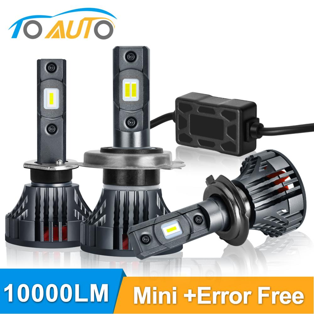 2pcs H1 <font><b>H4</b></font> H7 <font><b>LED</b></font> Canbus Error Free H11 H3 HB3 9005 HB4 9006 <font><b>LED</b></font> Car Headlight Bulbs <font><b>10000LM</b></font> 6000K Mini Auto Headlamp 12V 24V image