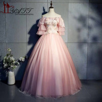 LIYATT 2019 New Arabic Pink Fairy Style Ball Gown Appliques Lace Bodice Ruffle Short Sleeves Lady Formal Evening Prom Dresses