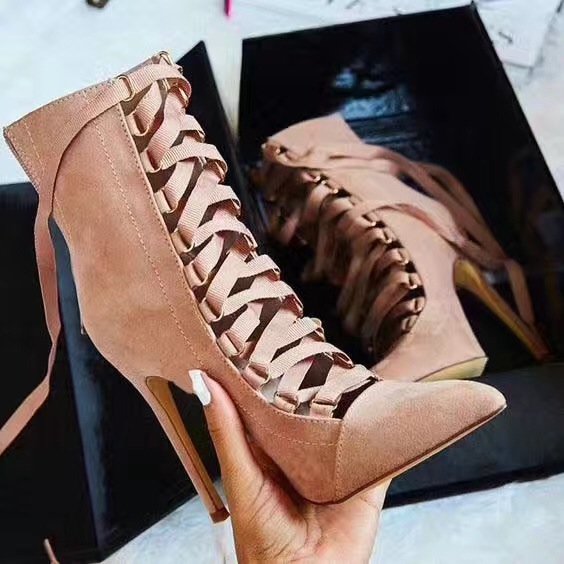 Women Sexy Suede Strappy Ankle Boots Pointed Toe Ribbon Lace-up Short Boots High Heel Party Dress Woman Gladiator Sandals Boots apoepo new arrival suede leather high heel ankle boots pointed toe fringe ankle wrap women bootie size 35 to 41 party dress shoe