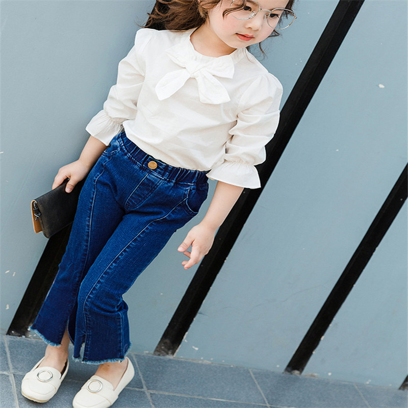 Girls Summer Furcal Trousers Long Jeans Teen Kids Denim Pants Flares Child Solid Navy Blue Tight Clothes Tight Pants Elastic