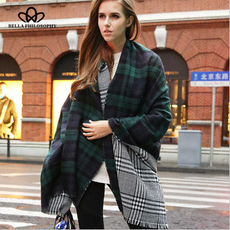 Bella Philosophy 2018 Autumn Winter Women plaid reversible scarf fashion female tassel scarf long women casual outwear scarf