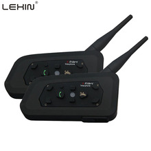 LEXIN 2PCS x1200M Support Stereo Music/Audio 6 Riders Helmet Handsfree R6 Waterproof Motorcycle Bluetooth Intercom Interphone