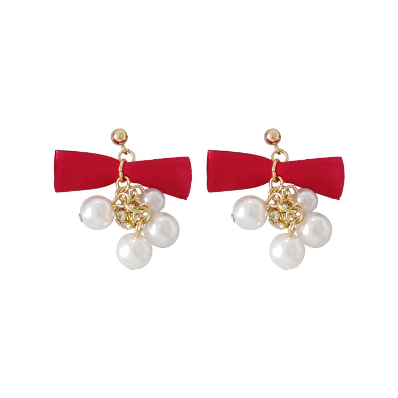 Sweet Ribbon bow knot post earring stone fireball and pearl charms ear accessory ODM OEM service