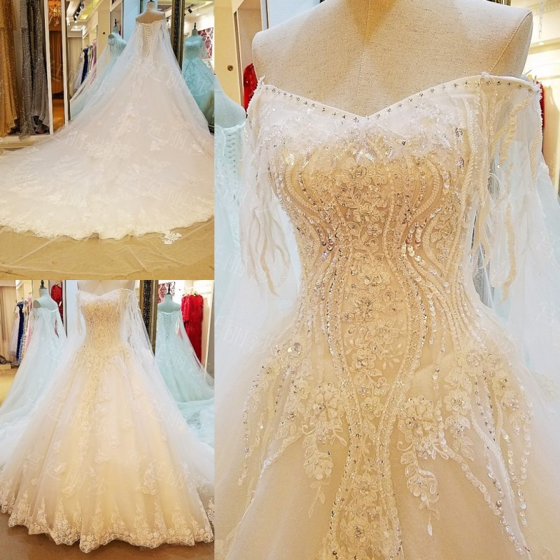 LS29054 Wedding Gowns 2017 Beaded Corset Back Ball Gown