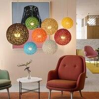 Modern wicker minimalist hand knitted Chandeliers E27 LED 220V ball pendant lamp for living room kitchen restaurant study hotel