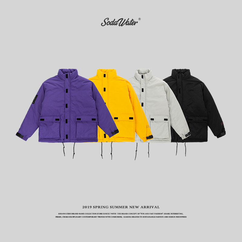 SODA WATER 2019 new autumn Men s Jacket Spring Coat Cotton Padded Solid Jacket Men Casual