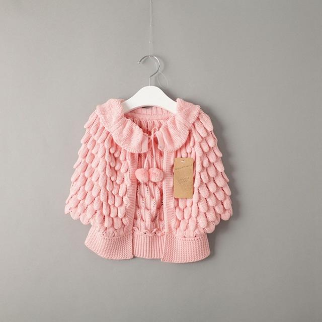 Nova 2015 otoño invierno moda pétalo punto suéter de los cabritos de las muchachas del mantón sólido da vuelta abajo ropa para niños traje 2 ~ 7 age capa de la muchacha