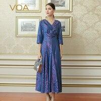 VOA Autumn Winter Fashion Purple Sexy V Neck Plus Size Women Tunic Dress Vintage Silk Jacquard High Waist Slim Dress ALX15901