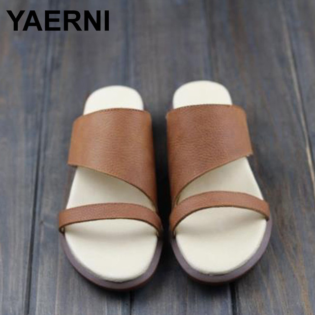 5fd588ea73184 YAERNI Shoes Woman slipper Coffee Brown Step-ins Slippers Genuine Leather  Ladies Sandals Summer Female Shoes