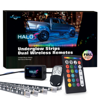 MICTUNING HALOS 4PCS Truck/SUV LED Underglow Light Kit RGBW Multicolor Music Sync Waterproof Strip Lights w/ 2 Wireless Remote
