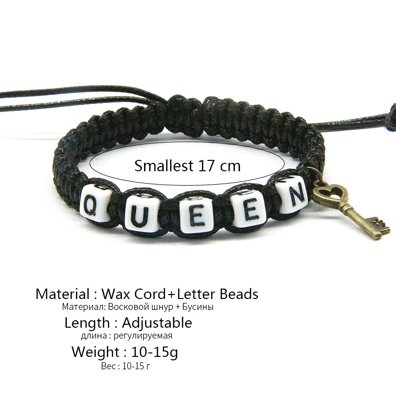 2PCS Couple Bracelet Lovers KING and QUEEN Handmade Braided Rope Bangle Gift Hot