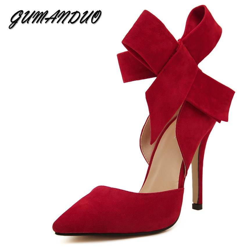 GUMANDUO New spring summer fashion sexy big bow pointed toe high heels sandals shoes woman ladies wedding party pumps dress shoe big size sale 34 43 new fashion sexy pointed toe women pumps spring summer autumn high heels ladies wedding party shoes 6629