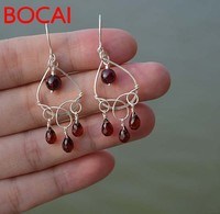 crystal handmade custom wine red garnet earrings Sterling Silver in the long section of classical