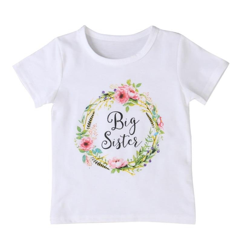 FOCUSNORM Outfits T-Shirt Girl Short-Sleeve Floral Baby Little Kids Summer Big Sister