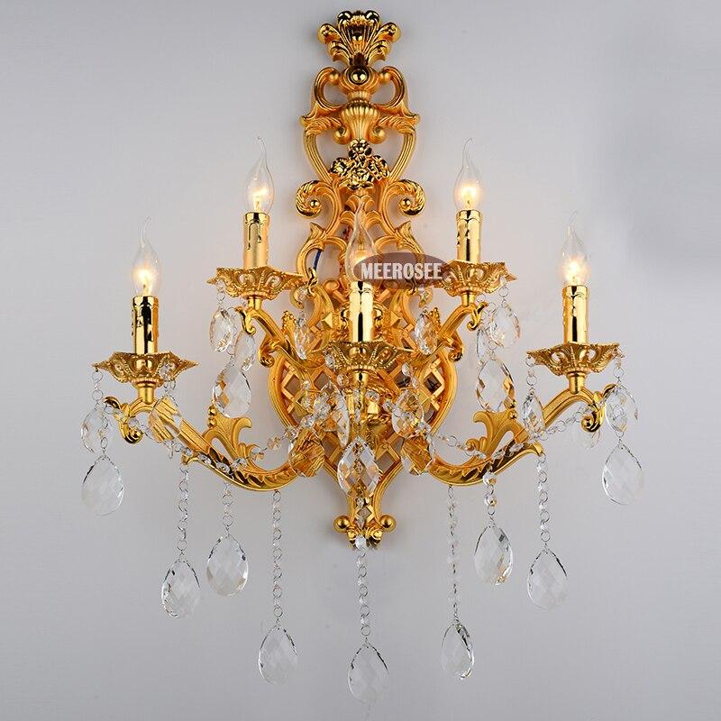 Di Colore dell'oro Di Cristallo oro lampada da parete applique da parete di Cristallo di luce staffa a parete reggiseno Illuminazione 5 luci per camera da letto sala da pranzo
