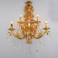 Gold Color Crystal wall lamp gold wall sconces light Crystal wall bracket bra Lighting 5 lights for bedroom dining room