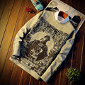 Hot men thick T shirt fashion Roger II  print brand clothing Men's Long Sleeve sweatshirt  T-Shirt Male O-Neck  high quailty