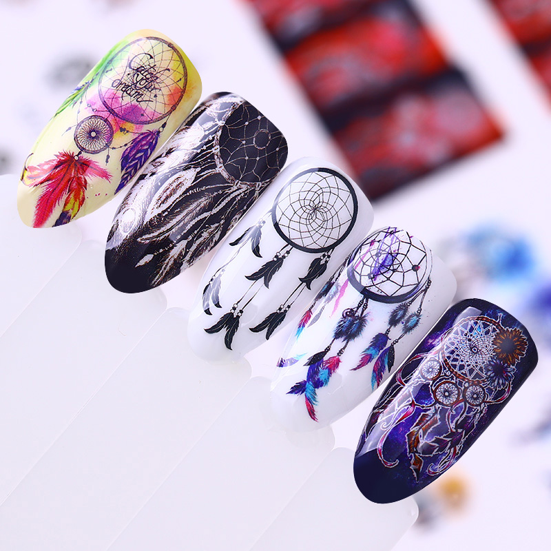 1 Sheets 12Patterns Nail Water Decal Dream Catcher Series Nail Art Transfer Sticker Manicure DIY Nail Art Decoration orange lily flowers nail art transfer foils nail sticker decal tip decoration diy manicure tools 439