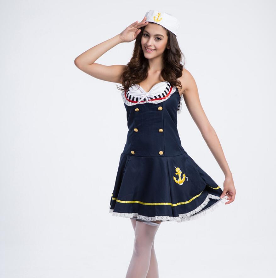 Carnavalskleding Marine Dames.Blauw Sexy Vrouwen Marine Kostuum Meisjes Sailor Uniformen Halloween
