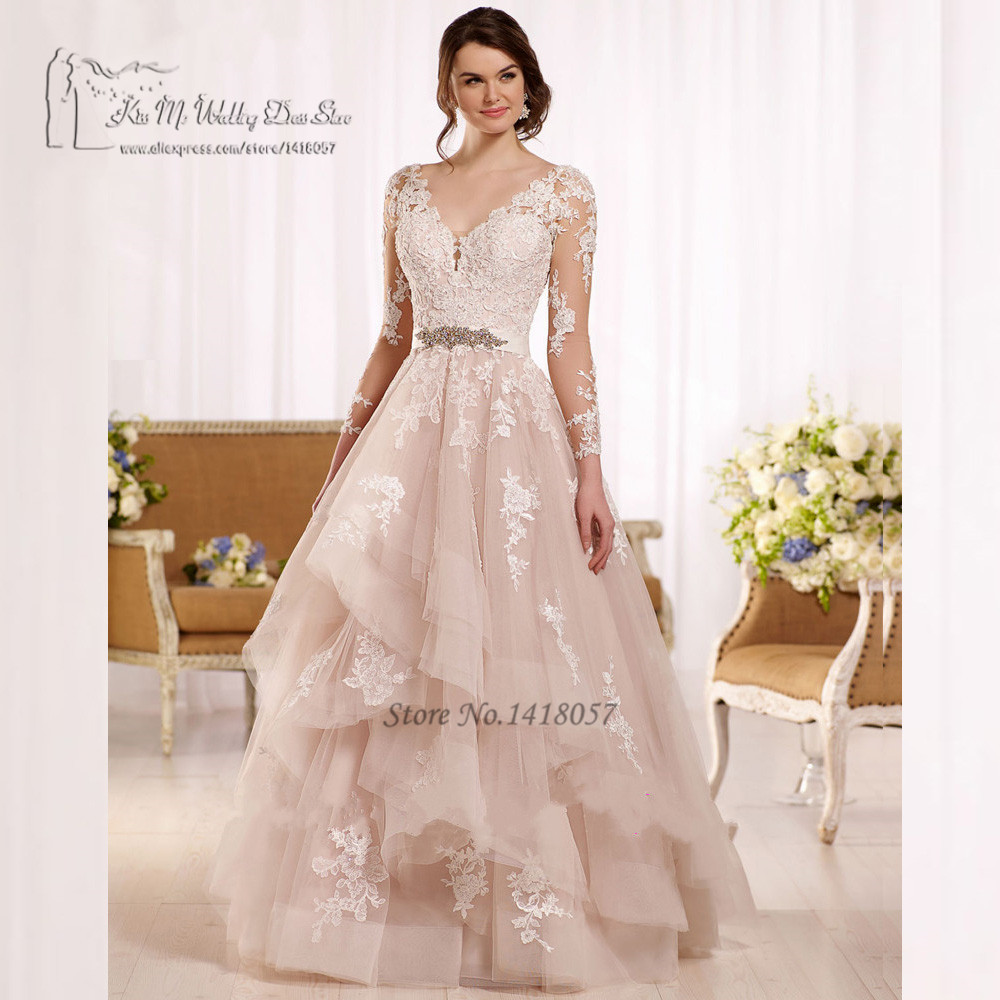 Vintage boho wedding dress 2017 vestido de noiva princess for Wedding dresses with sleeves 2017