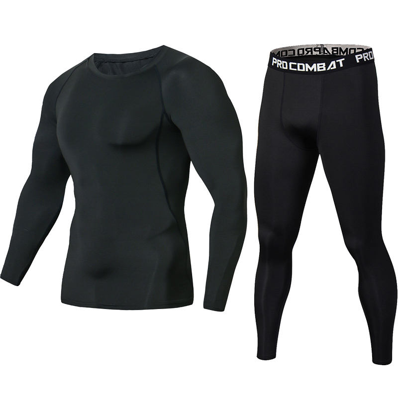 Newest Pure Black Fitness Compression Sets T Shirt Men Long Sleeves MMA Muscle Shirt Leggings Base Layer Tight Set