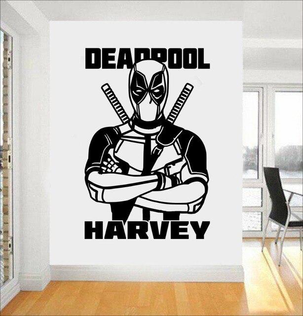 Superhero Style Wall Decal Deadpool Personalised Vinyl Kids Nursery Home  Decor Marvel Boys Bedroom Decoration DIY
