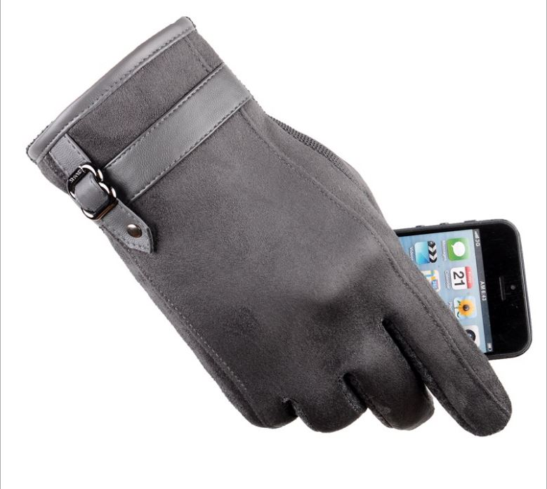 GLV994New leather man touch screen font b gloves b font with thick warm fleece winter cycling