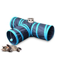 Hot Sale Foldable 3 Holes Indoor Outdoor Pet Cats Training Funny Car Tunnel Play Tent