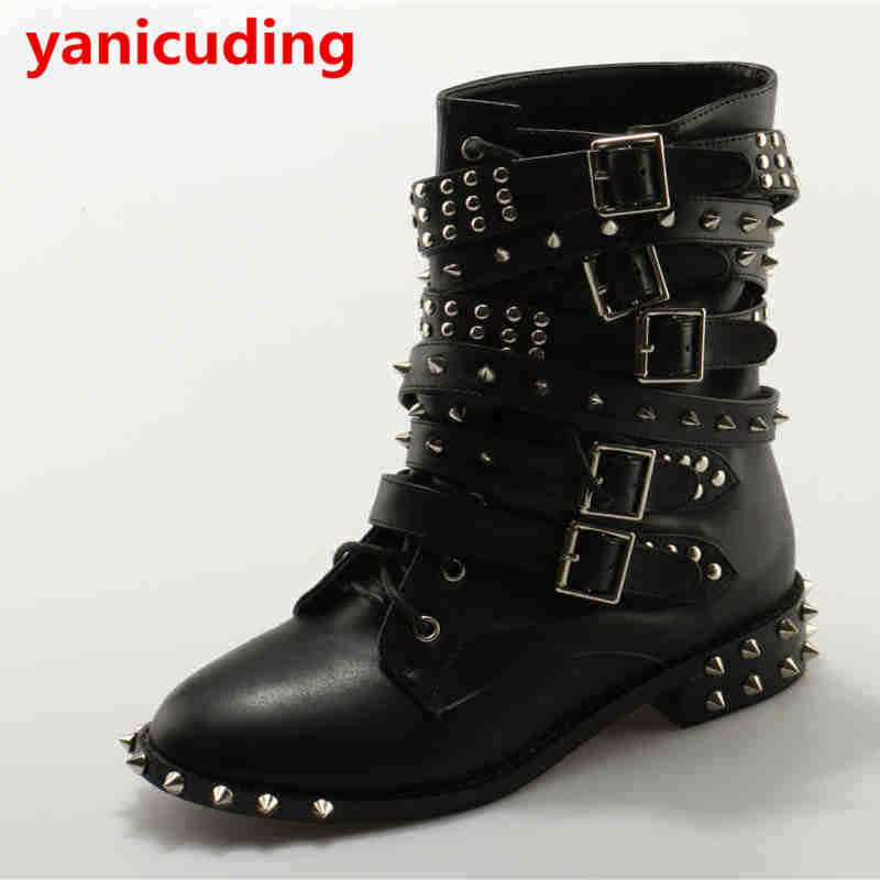 yanicuding Round Toe Rivets Embellished Women Boots Buckle Shoes Luxury Brand Stylish European Style Short Booties Runway Star miquinha round toe women boots mixed color short booties luxury brand women cool runway fashion star high heel boots buckle shoe