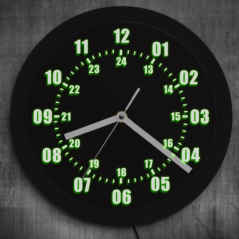 1Piece Military Time 24 Hours Display LED Neon Sign Wall Clock With LED Backlight Military World Time Zone Modern Amateur Decor