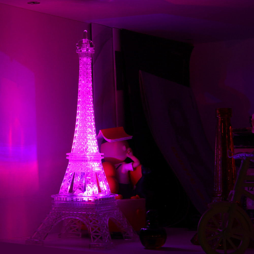Romantic Eiffel Tower Color Changing LED Night Light Bedroom Home  Decoration Worldwide Store(China (