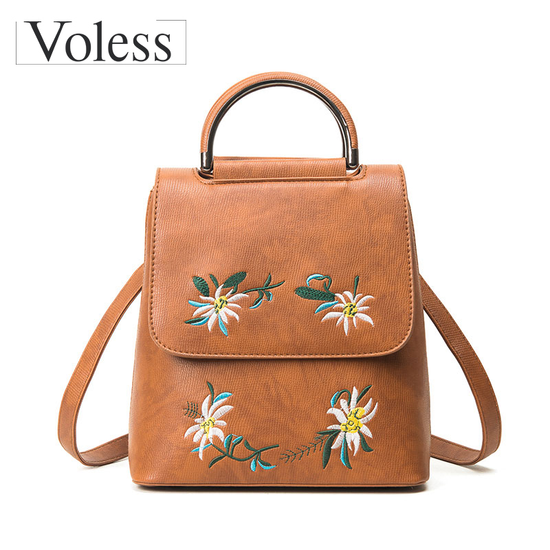Embroidery Floral Leather Backpack Women Backpacks For Teenage Girls Fashion Middle School Bgs Backpack Lady Mochila Sac Femme women sequin backpack mochila lentejuelas teenager girl school bags bling bling lady backpacks bolsa feminina sac a main femme