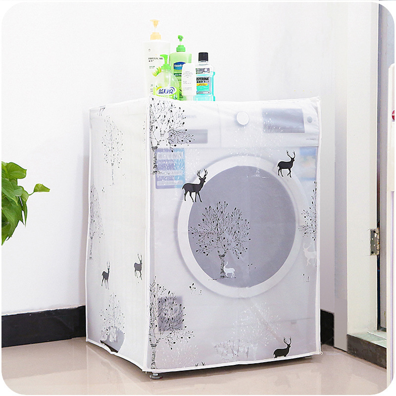 Transparent Washing Machine Cover Printing Sunscreen Covering Household Waterproof Roller Washing Machine Cover Home Gadgets