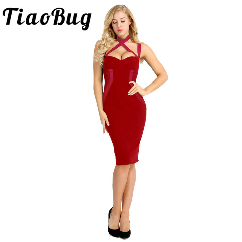 TiaoBug Women Ladies Cocktail Dresses Sexy V Neck Knee Length Women Prom Dress Bodycon Formal Party Princess Knee-Length Dress