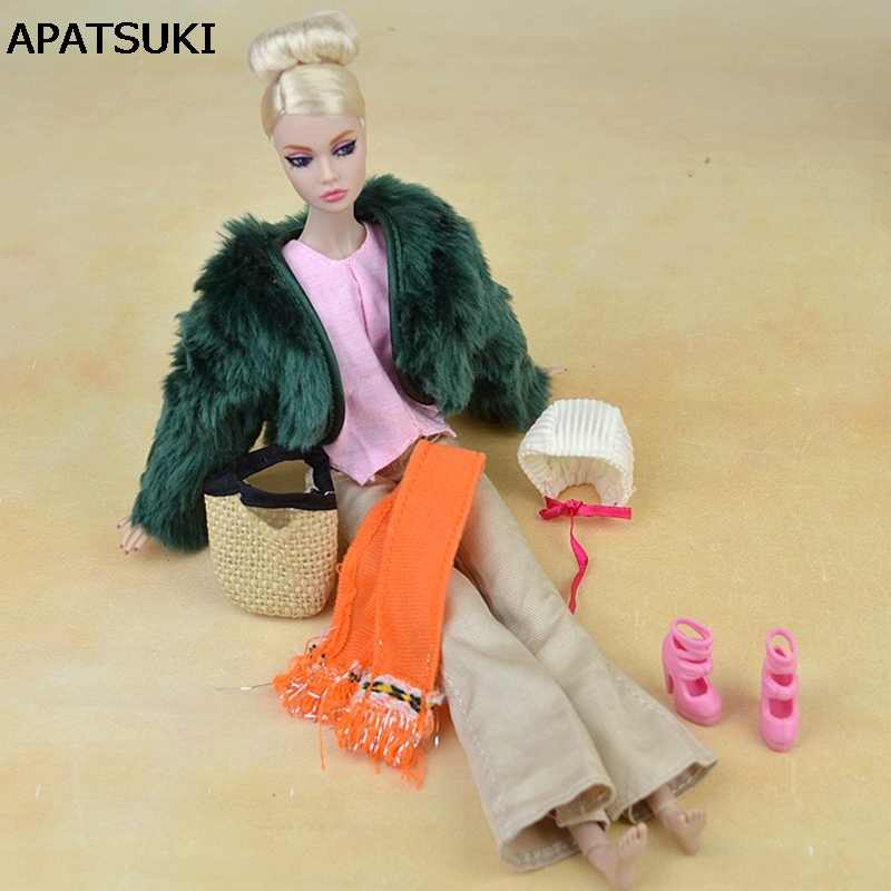 Doll Pribor Set Zimska odjeća Krzneni kaput Moda Odjeća za Barbie Lutke Kuća hlače Šal Cipele Torbe za BJD Lutka