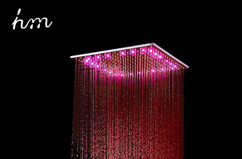 hm 20\'\' Multi Function Led Light Shower Head Ceiling Rain Shower SUS304 Mirror LED Rainfall & SPA Mist Massage Shower Heads (10)