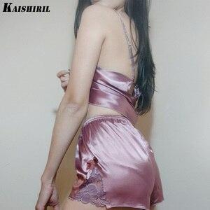Image 1 - Ladies Sexy Silk Satin Pajama Set Lace Pyjama Women Sleeveless Pijama Set V neck Sleepwear Summer Home Wear Sleep Wear For Women