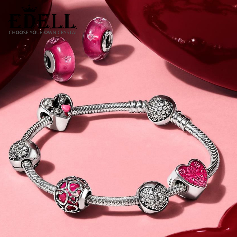 EDELL 100% 925 Sterling Silver 1:1 Classic Love Heart-shaped Valentines Day Bracelet Set Suitable for Girlfriend Romantic GiftEDELL 100% 925 Sterling Silver 1:1 Classic Love Heart-shaped Valentines Day Bracelet Set Suitable for Girlfriend Romantic Gift