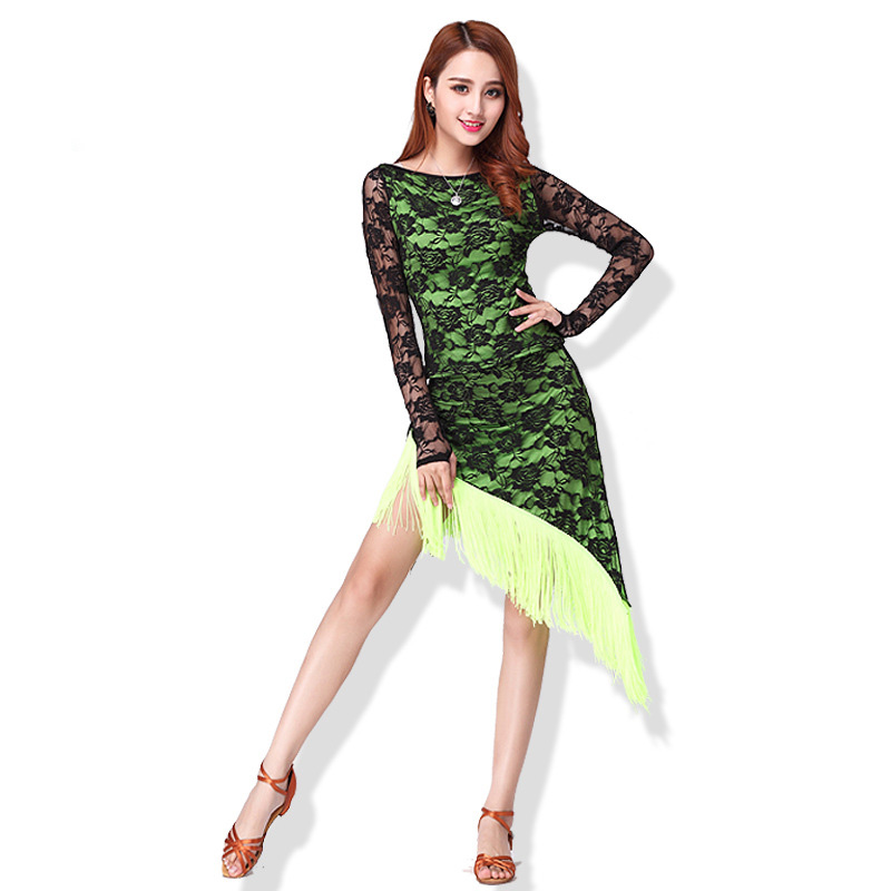 New Long Sleeve Latin Dance Dress For Women Adult Competition Performance Dress Female Tassel Latin Dancing Skirts Lace Suit
