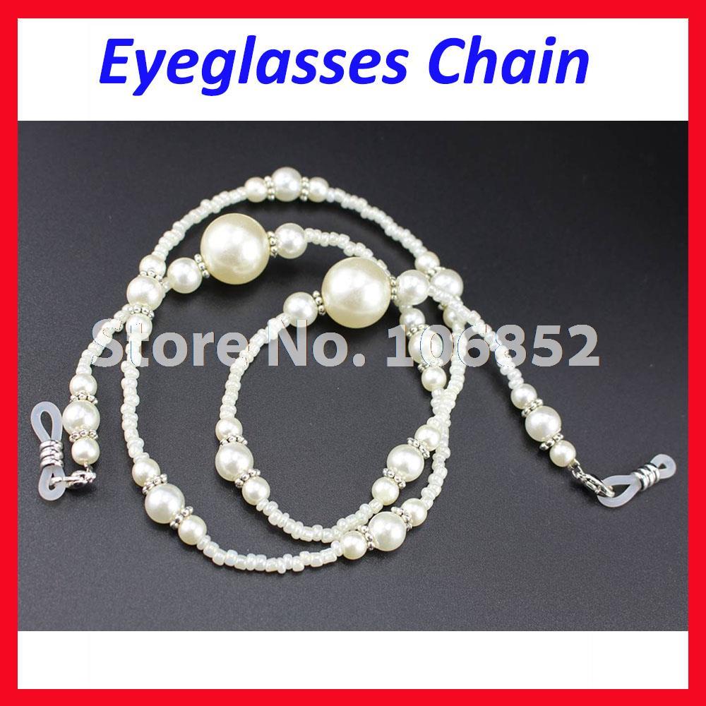 DH005 10ks / lot Módní vyměnitelná špička bílé perlové korálky sluneční brýle na čtení brýle brýle řetízek držák lana