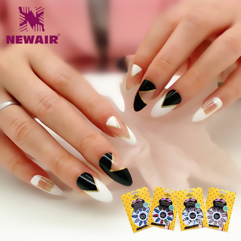 Oval Fake Nails with Designs 120PCS 7 Colors Full Cover Round False ...