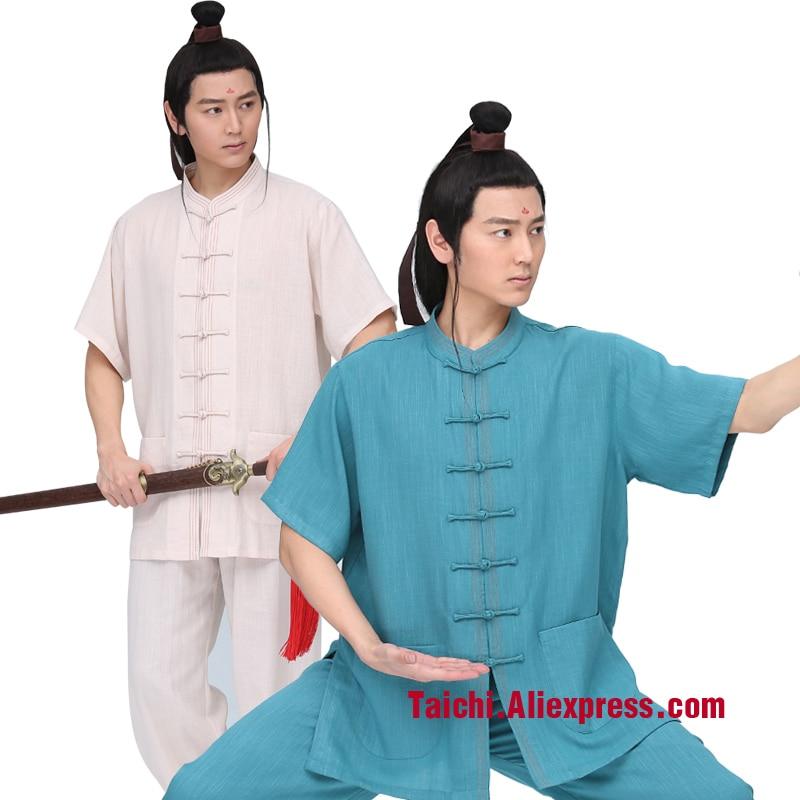 Short Sleeve Male Handmade Linen Tai Chi Uniform Wushu Kung Fu Martial Art Suit Chinese Stlye Sportswear